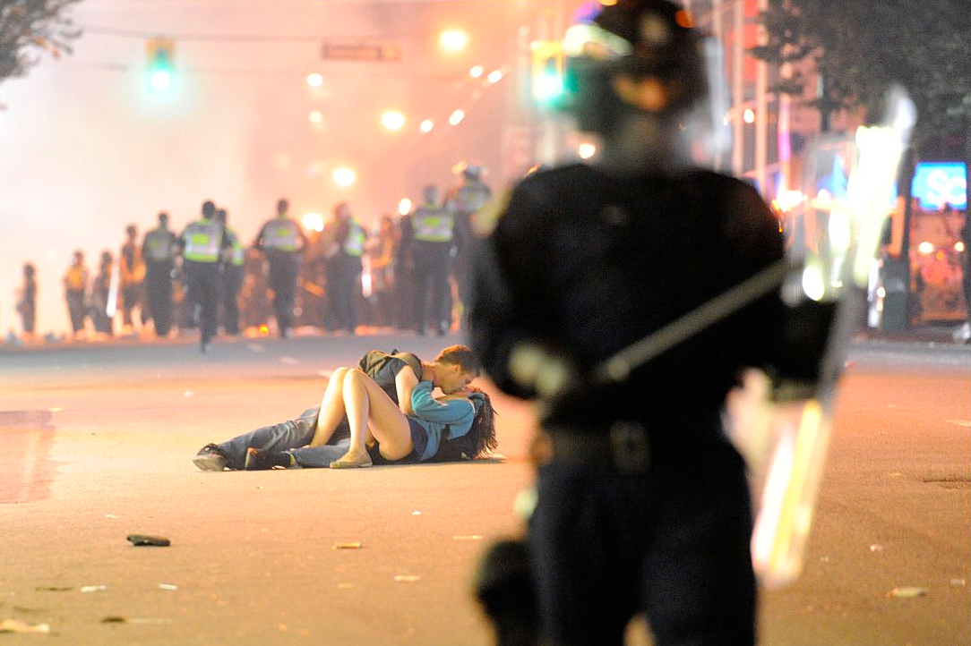 Couple Making Out at Vancouver Canucks Riot