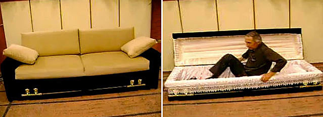 Coffin Turns Into a Sofa