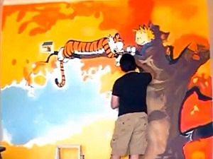 Talented Dad Paints 'Calvin & Hobbes' Mural On His Son's Wall