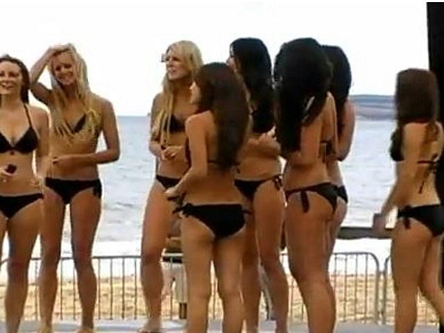 Girl bikini shower, oral rehydration fluids