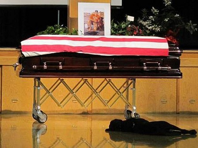 Dog lays by owner's casket