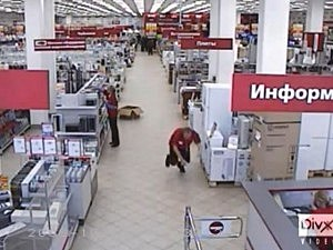 clerk falls down