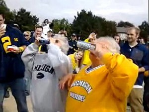 Grandmas chug beer at Michigan tailgate