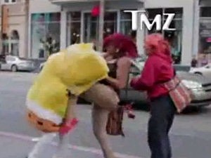 SpongeBob fights women, gets arrested