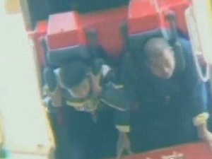 Father and son stuck on roller coaster