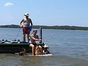 water skiing dog fail