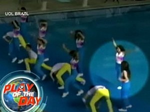 Cheerleader Falls in Pool