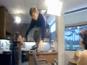 Bill Gates jumps over chair