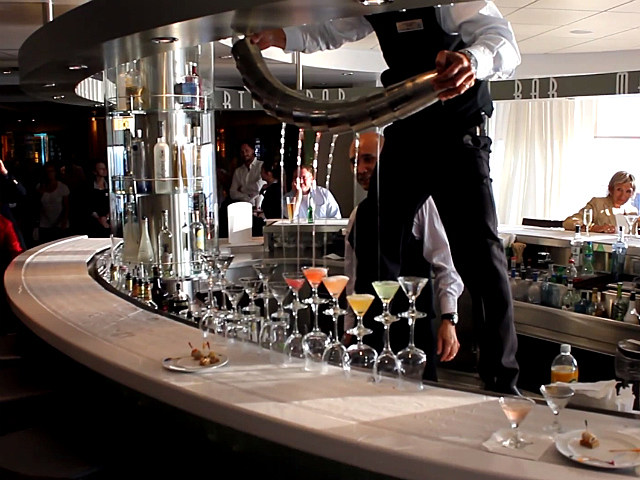 Cruise Ship Bartender Pours Drinks