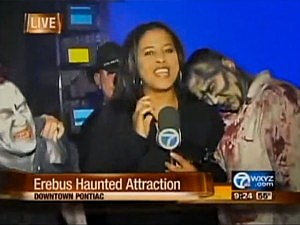 scared reporter haunted house