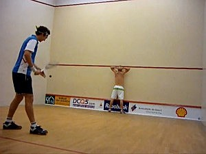 Cameron Pilley whacks his brother with record-setting squash serve.