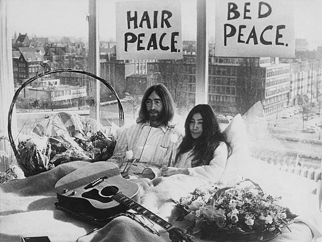John Lennon Bed Peace Sign
