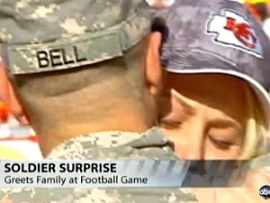 Soldier Surprises Fiance at Football Game