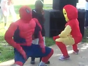 Spider-Man and Iron Man Dance at Kids Party