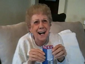 old woman eating pop rocks