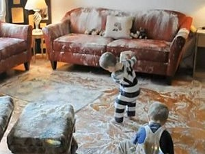 toddlers destroy house with flour
