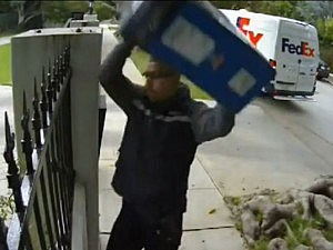 Fed Ex delivery man throws monitor
