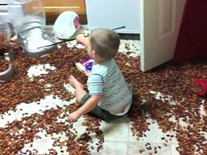 Kid Makes a Huge Mess With Dog Food