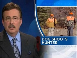 dog shoots hunter