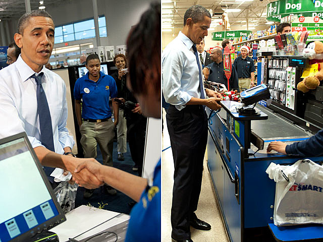 Obama shops at Best Buy, PetSmart