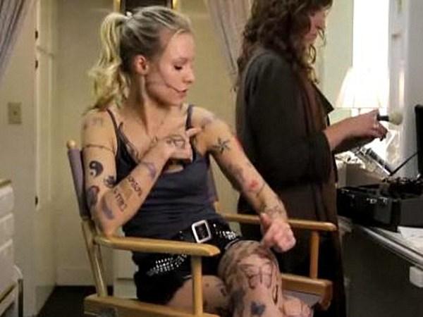 shocker clean cut kristen bell has over 200 tattoos video