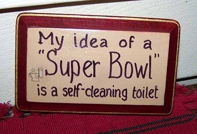 Super, Bowl, party, toilet, sign