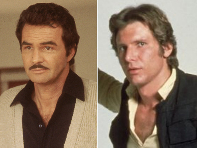 Burt Reynolds and Harrison Ford as Han Solo