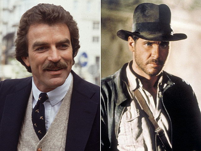 Tom Selleck and Harrison Ford as Indiana Jones