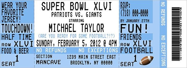 Super, Bowl, party, football, ticket, invitation