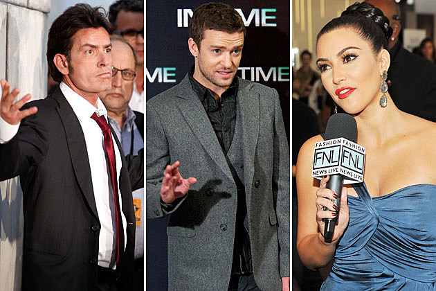 Charlie Sheen, Justin Timberlake, Kim Kardashian