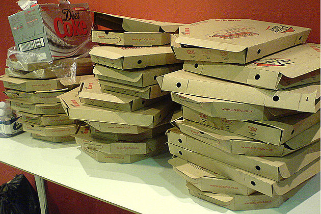 stacks of empty pizza boxes