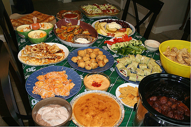 glorious spread of super bowl snacks