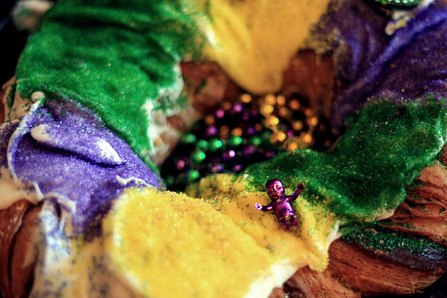 beaded Mardi Gras king cake
