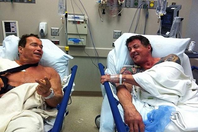 Arnold Schwarzenegger Stallone hospital