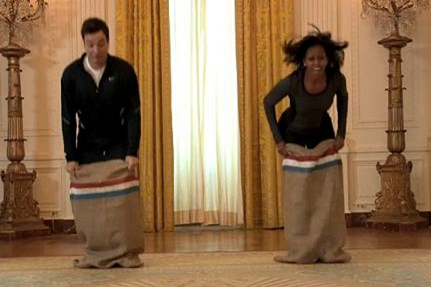 Jimmy Fallon Michelle Obama Potato Sack race