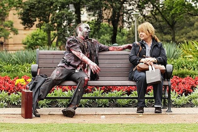 zombies zombie walk sydney australia park bench