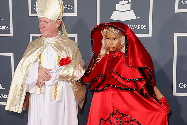 Nicki Minaj Grammys red carpet with the Pope