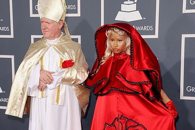 Nicki Minaj Grammys red carpet with the Pope