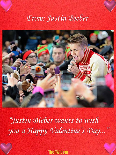 Justin Bieber Valentine's Day card
