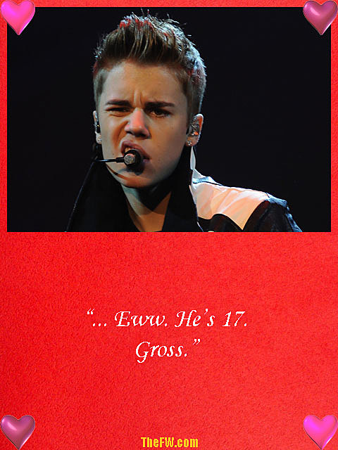 Justin Biber Valentine's Day card