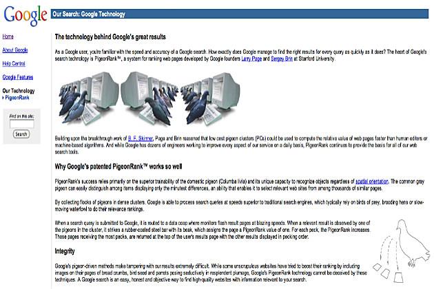 Google's PigeonRank System