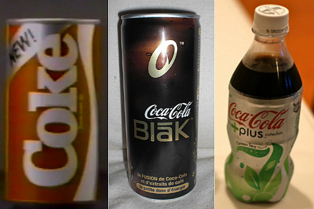Not so popular Coke flavors New Coke, Coca-Cola Blak and Coca-Cola Green Tea