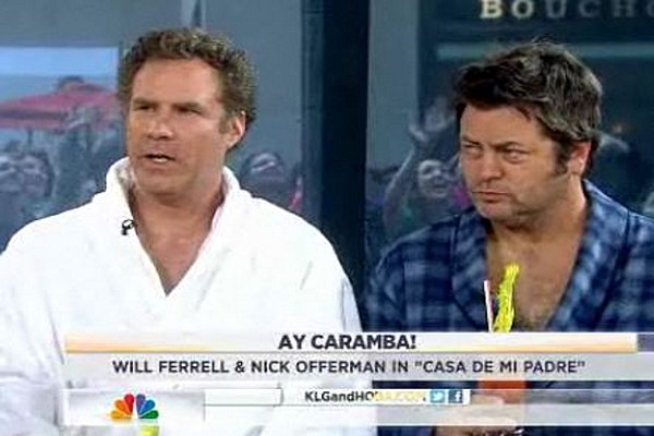 Will ferrell and nick offerman booze it up in bathrobes on today - Will ferrell one man show ...