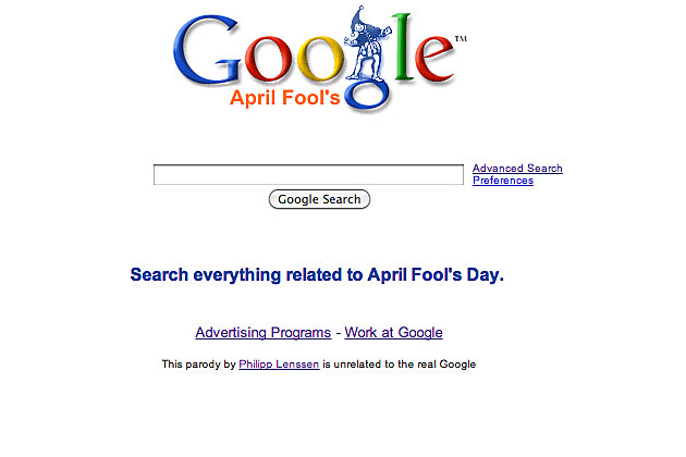 website honoring Google Fool's Day