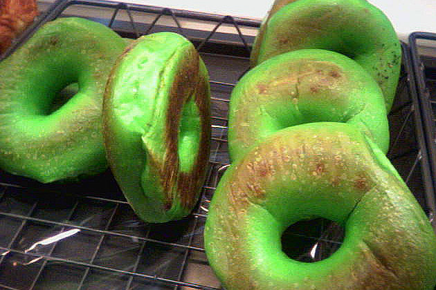 St. Patrick's Day green bagels