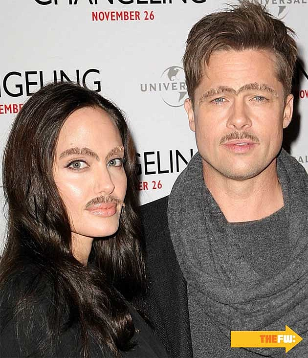 Angelina Jolie Brad Pitt Mustache Eyebrows