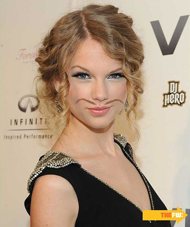 Mustache Eyebrows Taylor Swift