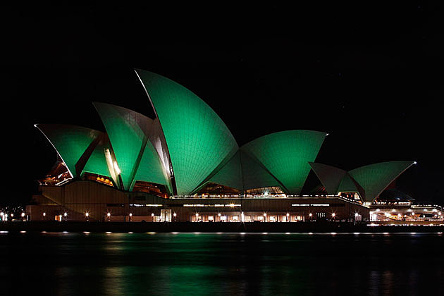 Sidney, Australia Opera House on St. Patrick's Day