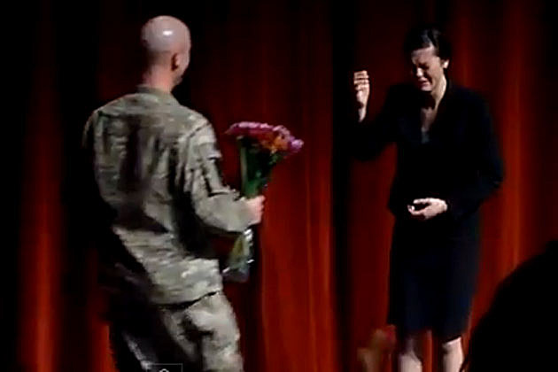 Soldier Dad Surprises Daughter at Auditorium