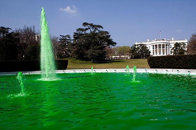 White House fountain green on St. Patrick's Day